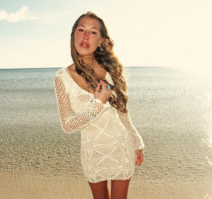Handmade crochet long sleeve dress BEIGE