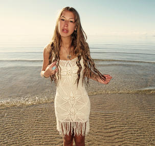 Handmade crochet fringe dress BEIGE
