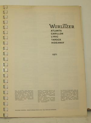 Jukebox Wurlitzer 1971 servicemanual