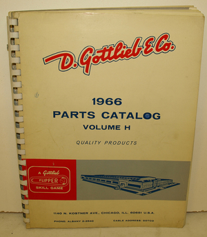 Parts Catalog Gottlieb 1966