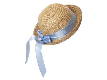 Straw hat round 'Lisabet' light blue