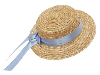 Straw hat flat 'Mardie' light blue