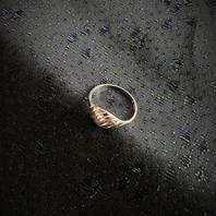 Silverring med randigt mönster.St  16,5. 1970talet
