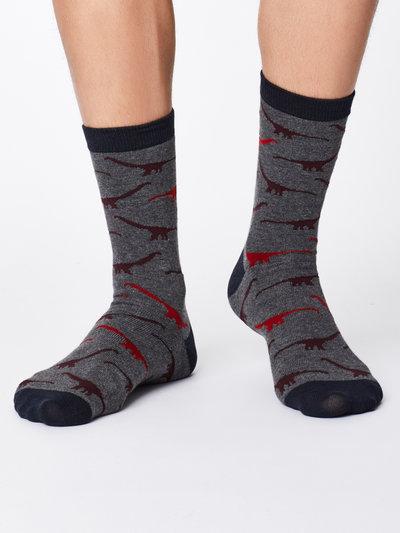 Dinosaur Bamboo Socks Mid Grey Marle