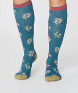 Bamboo Floral Under The Knee Socks Kingfisher Green