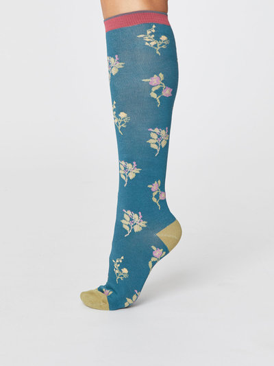 Bambu Floral Under The Knee Socks Kingfisher Green