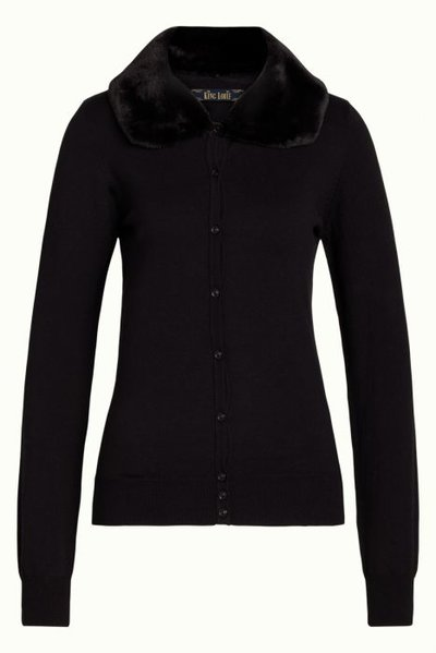 Cardi Fake Fur Collar Cupcake Black