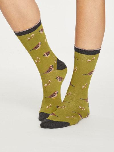 British Birds Bamboo Socks Herb Green