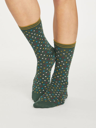 Dotty Bamboo Socks Forest Green