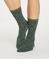 Dotty Bamboo Socks Forest Green