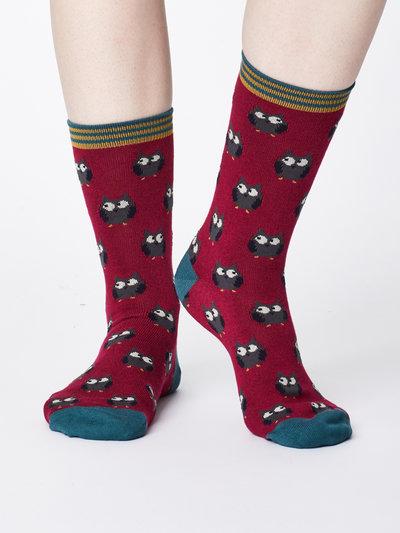 Owlie Bamboo Socks Cranberry