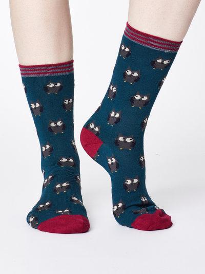 Owlie Bamboo Socks Teal Blue