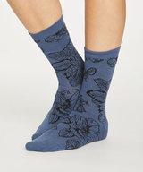 Sketchy Floral Bamboo Socks Blue Slate