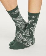 Sketchy Floral Bamboo Socks Forest Green