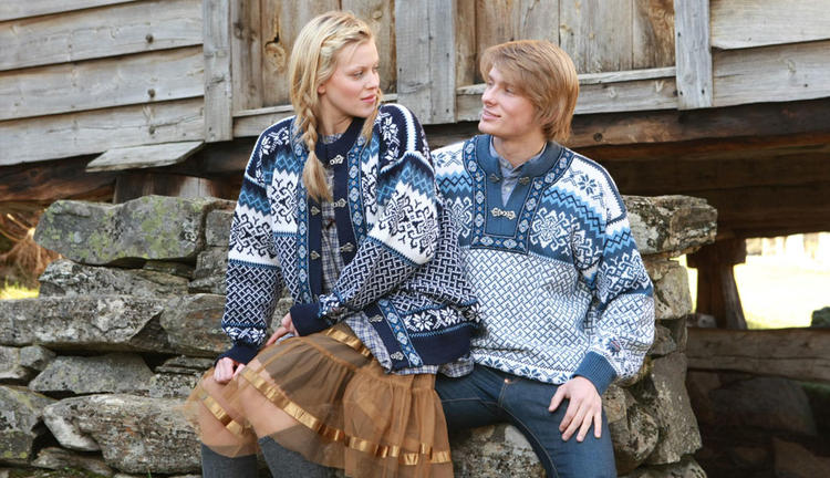 Borgund Sweater - Jeans blue & White