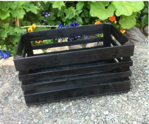 Äppellåda  svart lackbetsad 60x40cm