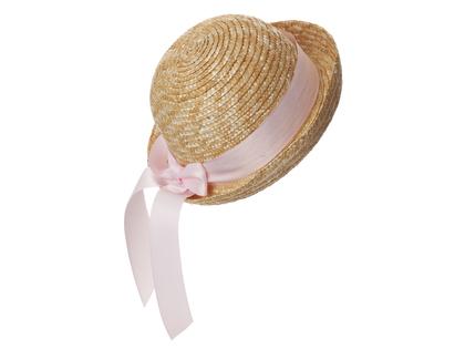 Straw hat round 'Lisabet' pink