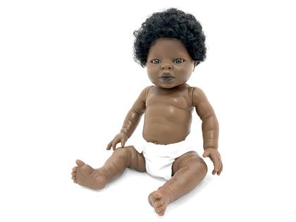 Docka Tiny 'Flicka Afrika' med hår