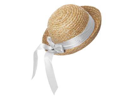 Straw hat round 'Lisabet' white