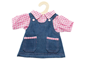 Dungaree dress with blouse for dolls (30cm)