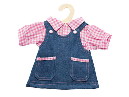 Dungaree dress with blouse for dolls (40cm)