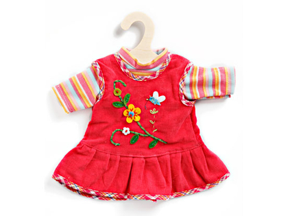 Dress & T-shirt for dolls (30cm) fuchsia/blue