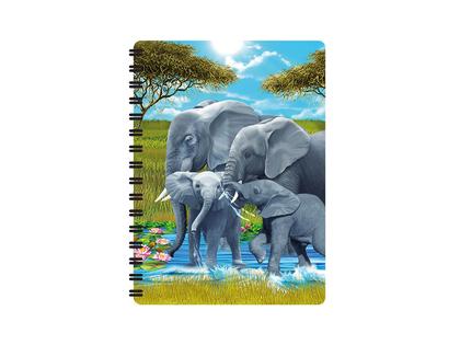 Anteckningsbok 3D Elefantfamilj liten