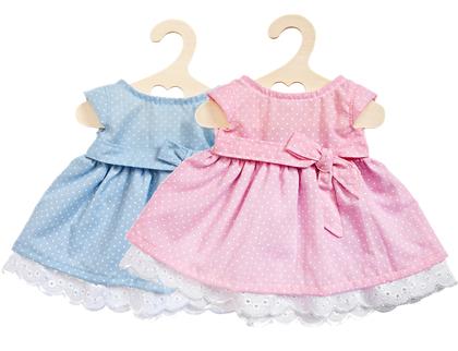 Dockklänning prickig (40cm) rosa/blå