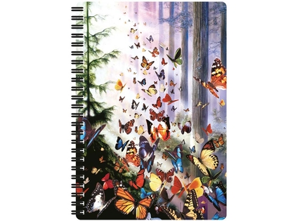 Anteckningsbok 3D Fjärilar i skogen stor