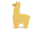 Farm alpaca in wood