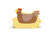 Farm hen in wood