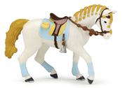 Häst till ryttare kvinna blå