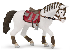 Horse for rider woman red