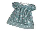 Doll dress 'Kiddy' (40cm) teal pattern