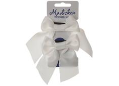 Bows on hair tie 'Mardie' white