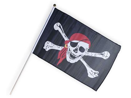 Piratflagga 'Döskalle i Röd Klut' (liten)