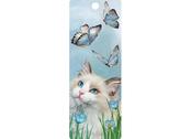 Bokmärke 3D Katt & Blå Fjärilar