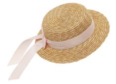 Straw hat flat 'Mardie' pink