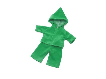 Dockdress med huva (40cm) grön