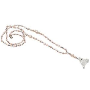 Pearls for Girls. Halsband med rosa pärlor och silverhjärta, längd 78 cm