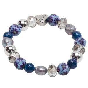 Pearls for Girls. Armband med blå pärlor och silverdetaljer