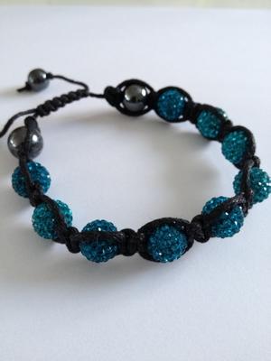 Shamballa armband blå bling