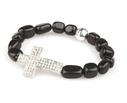 VÅGA smycken, armband svart med kors