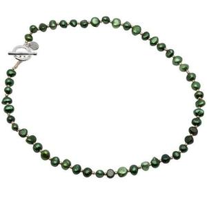 Pearls for Girls halsband med gröna pärlor, längd 45 cm