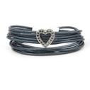 VÅGA smycken, armband, läder jeansblå