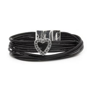 VÅGA smycken, armband, läder svart