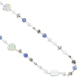 Pearls for Girls. Halsband med blå pärlor, längd 100 cm