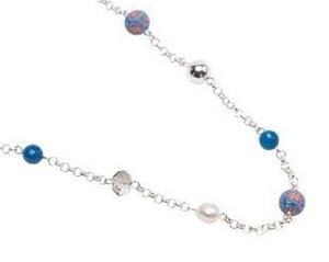 Pearls for Girls. Halsband med blå pärlor, längd 90 cm