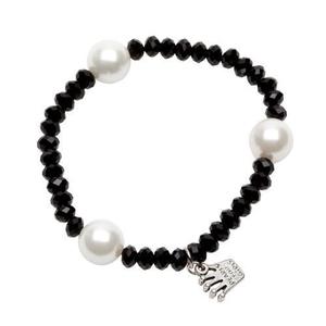 Pearls for Girls. Armband med svarta och vita pärlor