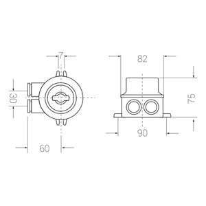Marine switch - 2-pole trapp - 2 outlets (O=)